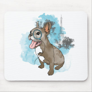 French bulldog with monocle mouse pad