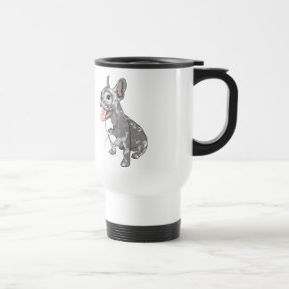 French bulldog with monocle travel mug