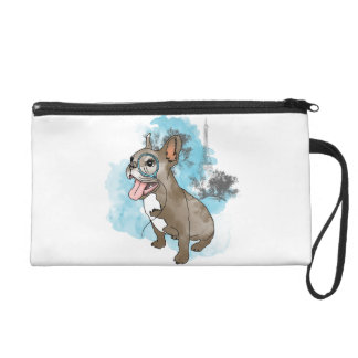 French bulldog with monocle wristlet purse