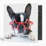 French Bulldog With Red Star Glasses Binder