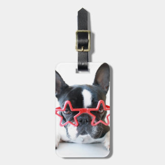 French Bulldog With Red Star Glasses Luggage Tag