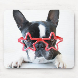 French Bulldog With Red Star Glasses Mouse Pad