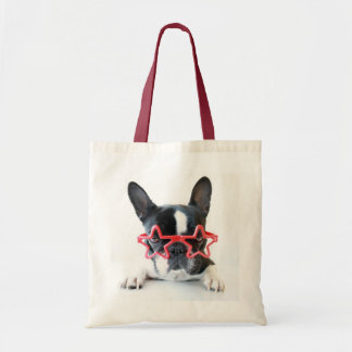 French Bulldog With Red Star Glasses Tote Bag
