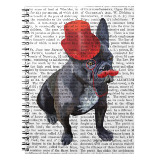 French Bulldog With Red Top Hat and Moustache Spiral Notebook