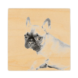 French Bulldog Wood Coaster