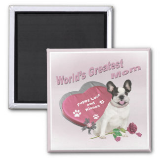 French Bulldog World's Greatest MOM gifts 2 Inch Square Magnet