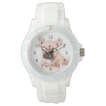 French bulldog. wrist watch