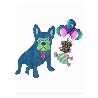French Bulldogge map Post Card