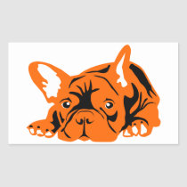 French Bulldogge orange black Rectangular Sticker