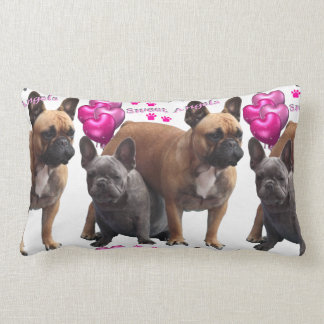 French Bulldogge with heart cushions