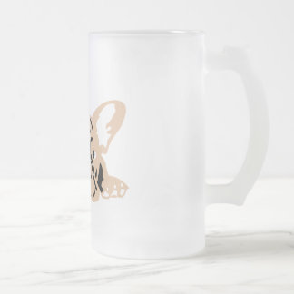 French Bulldoggen Frosted Glass Beer Mug