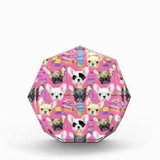 French Bulldogs and Rainbow French Macaron Cookies Acrylic Award