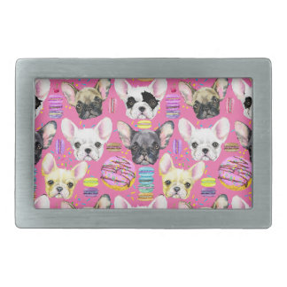 French Bulldogs and Rainbow French Macaron Cookies Rectangular Belt Buckle