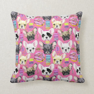 French Bulldogs and Rainbow French Macaron Cookies Throw Pillow