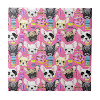 French Bulldogs and Rainbow French Macaron Cookies Tile
