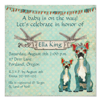 French Bulldogs  Blue Baby Invitation