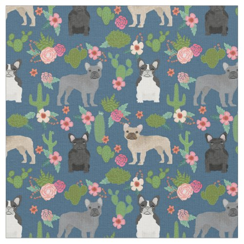 French Bulldogs Cactus Floral Fabric