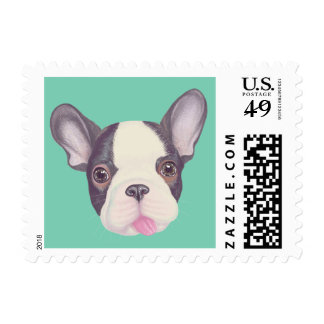 French bulldog's cheeky face stamp