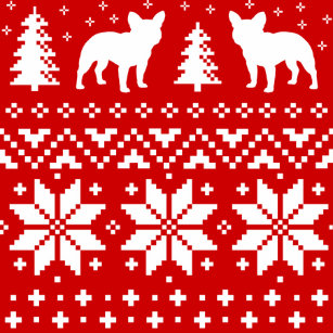 french bulldogs christmas sweater style pattern throw blanket