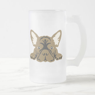 French Bulldogs Frosted Glass Beer Mug