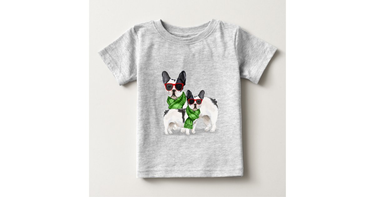 French Bulldogs Funny Christmas Fleas Navidog Baby T Shirt Zazzle Com