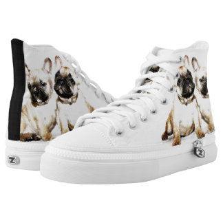 French Bulldogs  high top tennis shoes