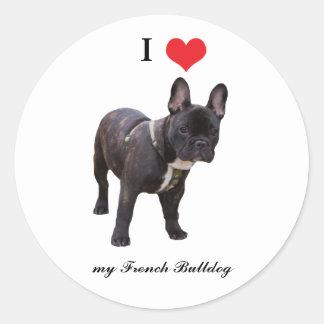 French Bulldogs, I love heart, sticker, stickers