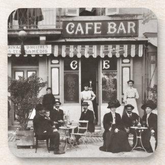 French cafe bar street scene beverage coaster