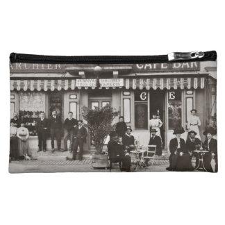 French cafe bar street scene makeup bag