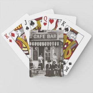 French cafe bar street scene poker deck