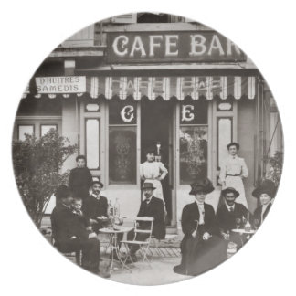 French cafe bar street scene party plate