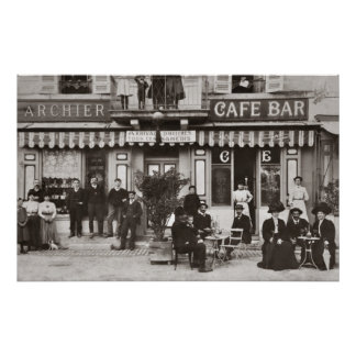 French cafe bar street scene poster