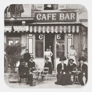 French cafe bar street scene square sticker