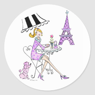 French Cafe Girl Stickers