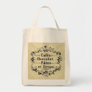 French Cafe Grocery Tote Bags