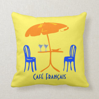 French Cafe Restaurant Cocktail Custom Color Throw Pillow