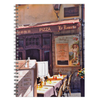 French cafe scene notebook