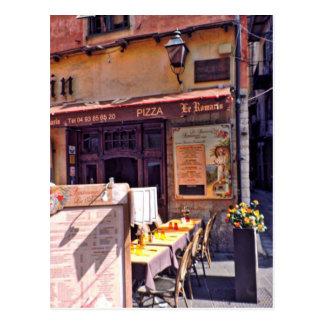French cafe scene postcard