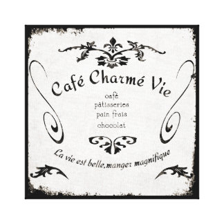 French Cafe Sign on canvas Canvas Prints