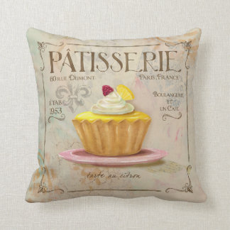 French Cafe Style Patisserie Pillow,Lemon Tart Throw Pillow