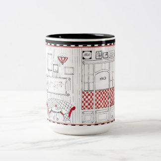 French Cafe Two-Tone Coffee Mug
