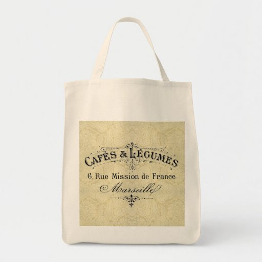 French Cafes & Legumes Grocery Tote Tote Bags