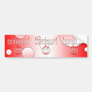 French Canadian Gifts Hello Bonjour + Smiley Face Bumper Sticker