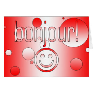 French Canadian Gifts Hello Bonjour + Smiley Face Card