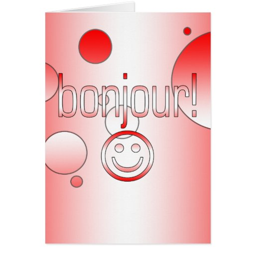 French Canadian Gifts Hello Bonjour + Smiley Face Stationery Note Card