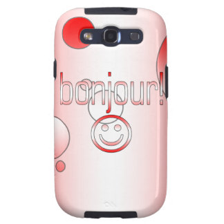 French Canadian Gifts Hello Bonjour + Smiley Face Samsung Galaxy S3 Case