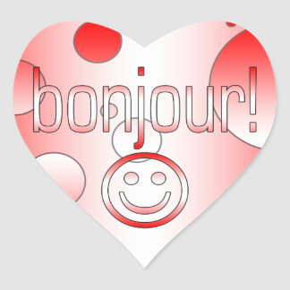 French Canadian Gifts Hello Bonjour + Smiley Face Heart Sticker