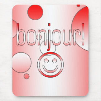 French Canadian Gifts Hello Bonjour + Smiley Face Mouse Pad