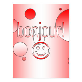 French Canadian Gifts Hello Bonjour + Smiley Face Postcard