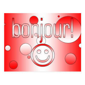 French Canadian Gifts Hello Bonjour + Smiley Face Postcards